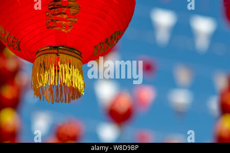 Chinese new year lanterns in china town. - Stock Photo