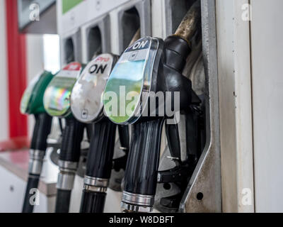Petrol station pumps with diesel, unleaded 95 and 98 fuel distributors - Stock Photo