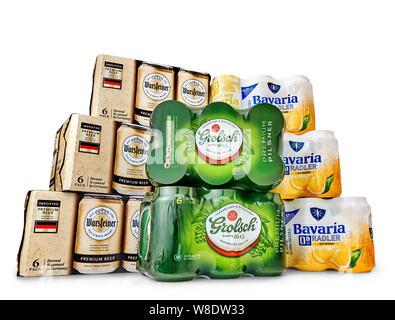 Netherlands, Haarlem - 19-05-2019: Grolsch, bavaria, warsteiner, Metal beer cans in a 6 pack package. - Stock Photo