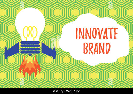 Handwriting text writing Innovate Brand. Conceptual photo significant to innovate products, services and more Top view launching bulb rocket fire base