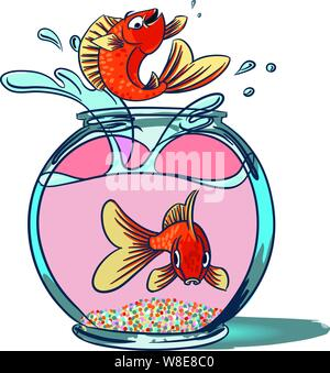 Goldfish Jumping. A fish jumping up from a goldfish bowl showing off as another fish sit at the bottom of the bowl staring out in shock - Stock Photo