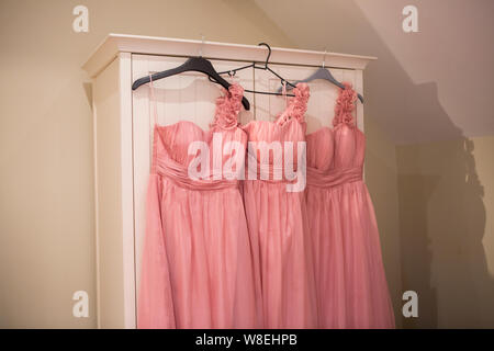 Pink Bridesmaids Dresses - Stock Photo