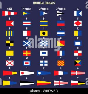 Vector illustration. International maritime signal flags. Letters and numbers. - Stock Photo
