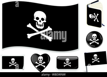 Pirate flag. Vector illustration. 3 layers. Shadows, flat flag, lights and shadows. Collection of world flags. Accurate colors. Easy changes. - Stock Photo