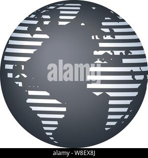 Vector illustration. Stripped restricted world map image in gray tones. - Stock Photo
