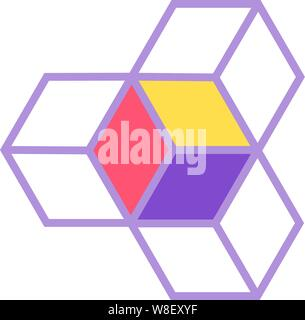 3 box logo styling in a geometrical configuration joined together with a pink, a yellow and a purple facing - Stock Photo