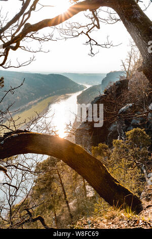 great view bastei in Saxonia Germany travel. - Stock Photo