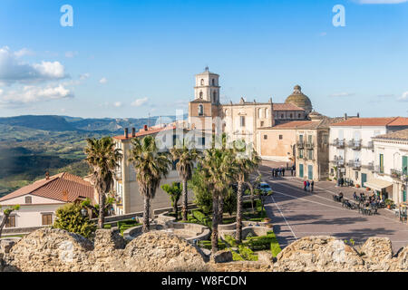 Main square with medieval cathedral in Santa Severina, Calabria, Italy