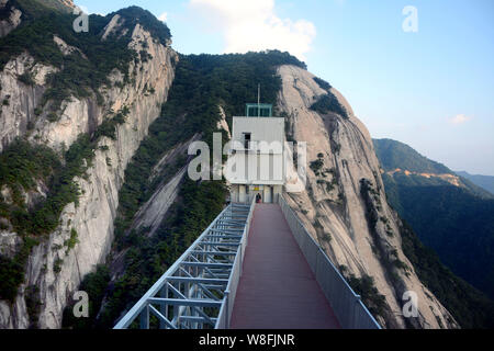 View of the 145-meter-tall sightseeing elevator built on a