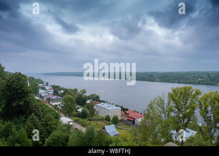 View of the Volga River from Cathedral Mountain on a summer cloudy day, Plyos, Ivanovo Region, Russia. - Stock Photo