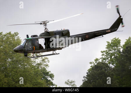 MONT-DE-MARSAN, FRANCE - MAY 17, 2019: Italian Air Force Agusta-Bell 212 Twin Huey helicopter flying at the NATO Tigermeet 2019. - Stock Photo