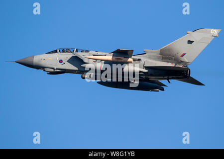 LEEUWARDEN, THE NETHERLANDS - MAR 28, 2017: British Royal Air Force Tornado GR-4 bomber jet aircraft in flight during NATO exercise Frisian Flag. - Stock Photo