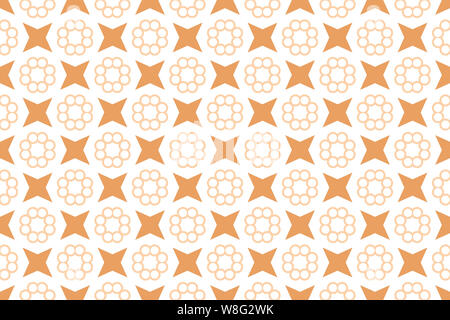 Seamless pattern. White background and shaped circle flowers and stars in brown tints. - Stock Photo