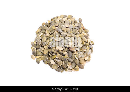 Top perspective of a heap of pumpkin seeds, isolated on white background. - Stock Photo
