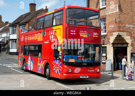 Open top bus tour in Stratford-upon-Avon town centre, Warwickshire, UK - Stock Photo