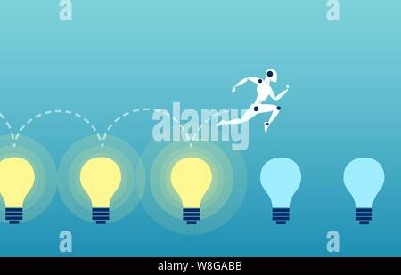 Vector of a robot jumping over the bright light bubls Stock Photo