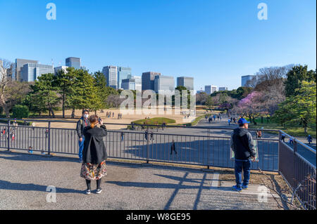 Marunouchi skyscrapers viewed from the Edo Castle Keep with site of Honmaru Goten Palace in foreground, East Gardens, Imperial Palace, Tokyo, Japan - Stock Photo