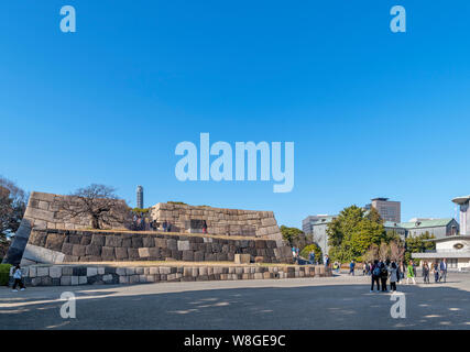 The sit of the Edo Castle Keep, East Gardens, Imperial Palace, Tokyo, Japan - Stock Photo