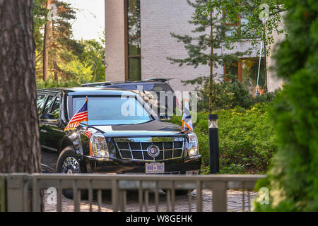 U.S. Secretary of State Michael R. Pompeo en route to a working breakfast with President Donald J. Trump in Helsinki, Finland on July 16, 2018. - Stock Photo