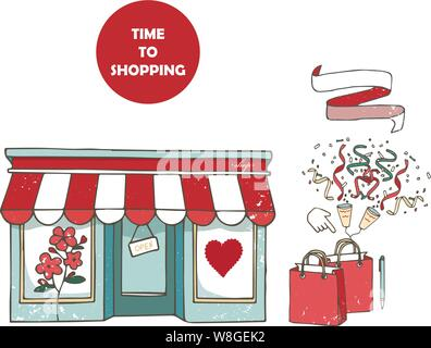 Flat design store fronts. Set of 9 shops and venues vector icons - Stock Photo
