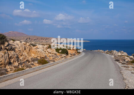 Image of road in the mountains. Crete, Greece - Stock Photo