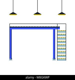 industrial factory stairs with lamps scene vector illustration design - Stock Photo