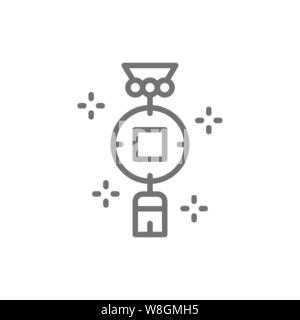 Chinese charm, feng shui coin line icon.