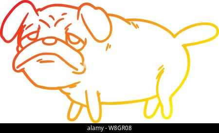warm gradient line drawing of a cartoon unhappy pug dog - Stock Photo