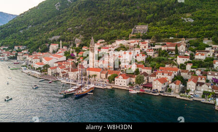Aerial view of Perast in the bay of Kotor - Stock Photo