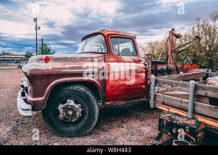 Holbrook, Arizona / USA – August 3, 2919: Old Red Chevrolet 6500 - Stock Photo