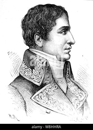 Lucien Bonaparte, Prince Français, 1st Prince of Canino and Musignano (born Luciano Buonaparte; 21 May 1775 – 29 June 1840), the third surviving son of Carlo Bonaparte and his wife Letizia Ramolino, was a French statesman, who served as the final President of the Council of Five Hundred at the end of the French Revolution. - Stock Photo