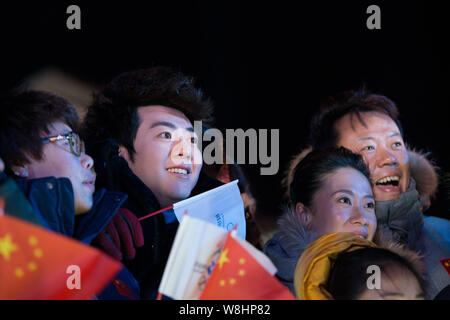 Chinese pianist Lang Lang smiles at the 'Countdown to 2015' New Year celebration event in Beijing, China, 31 December 2014. - Stock Photo