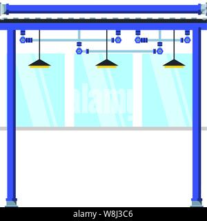 factory corridor with lamps hanging scene vector illustration design - Stock Photo