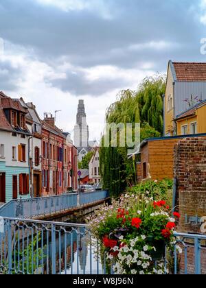 Amiens, France: Saint-Leu quarter and Tour Perret - Stock Photo
