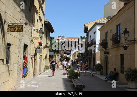 Spanish village , Poble Espanyol , The open air museum complex Poble Espanyol Barcelona Spain - Stock Photo