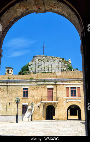 Inside of old fortress in Corfu, Greece. - Stock Photo