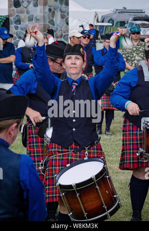 Fergus, Ontario, Canada - 08 11 2018: Drummer of the Hamilton Police Pipes and Drums band paricipating in the Pipe Band contest held by Pipers and Pip - Stock Photo