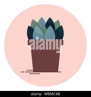 An indoor flower in pot vector illustration - Stock Photo