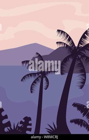 tropical palm tree summer time vacations design vector illustration - Stock Photo
