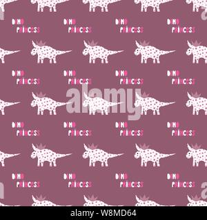 Cute dinosaurs with crowns seamless pattern on the dark background. Vector dino texture for kids. Design for nursery. - Stock Photo