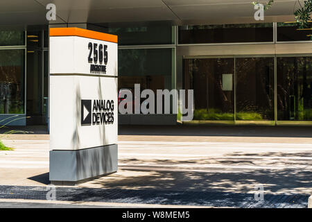 July 30, 2019 Santa Clara / CA / USA - Analog Devices logo at their offices in Silicon Valley; Analog Devices, Inc, also known as ADI or Analog, is an - Stock Photo