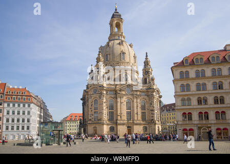 DRESDEN, GERMANY - APRIL 29, 2018: View of the Church of the Virgin (Frauenkirche) on a sunny April day - Stock Photo