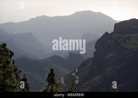 Beautiful view from Roque Nublo on The Soria Valley, Gran Canaria, Spain - Stock Photo