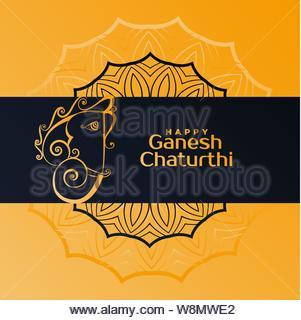 creative happy ganesh chaturthi festival greeting - Stock Photo