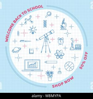 Back to school background with school and class elements in line art style on grid paper - Stock Photo