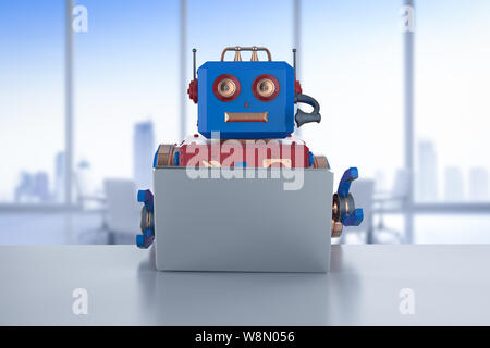 3d rendering robot working on laptop computer - Stock Photo