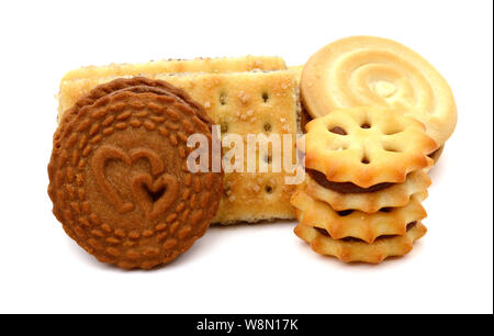 A stack of Fruit and Oat Cookies on a white background - Stock Photo