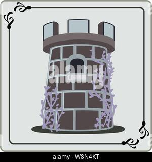 Dark colored castle or rook game piece with clinging vines one window  & archers top - Stock Photo