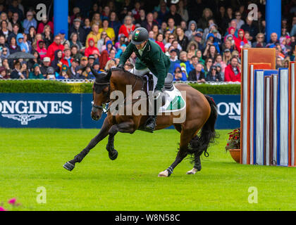 Dublin, Ireland 09 august 2019. Shane Sweetnam for Team Ireland   compete for the Aga Khan Cup in the Longines Nations Cup Show Jumping at the RDS Dublin Horse Show. Credit: John Rymer/Alamy Live News - Stock Photo