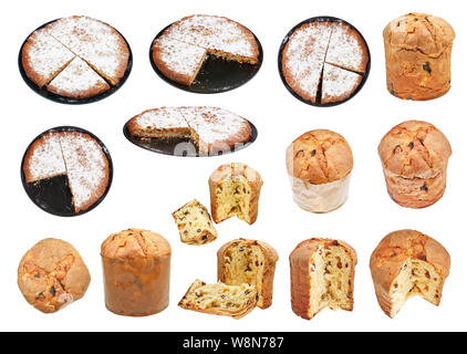 set from italian Pine Nuts and Panettone Easter Cakes isolated on white background - Stock Photo